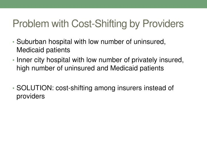 Problem with Cost-Shifting by Providers