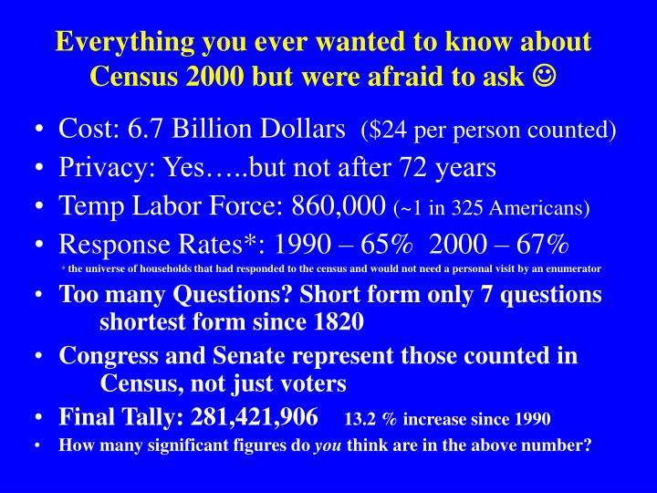 Everything you ever wanted to know about Census 2000 but were afraid to ask