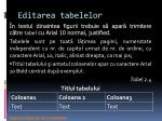 editarea tabelelor