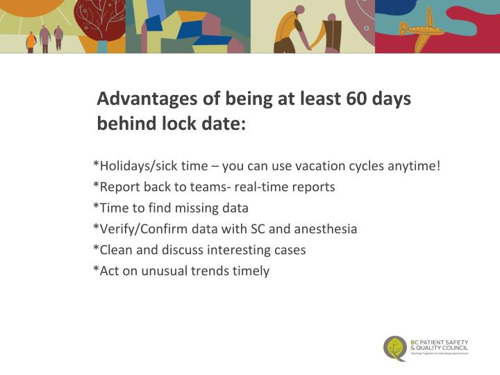 Advantages of being at least 60 days behind lock date: