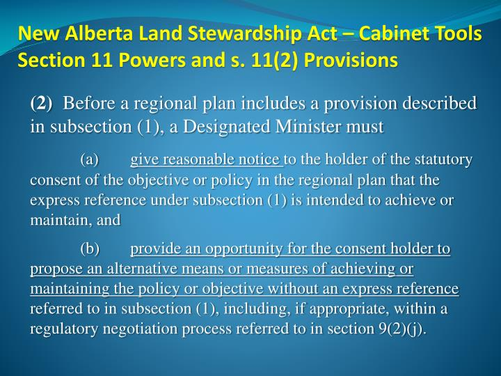 New Alberta Land Stewardship Act – Cabinet Tools