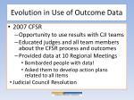 evolution in use of outcome d ata