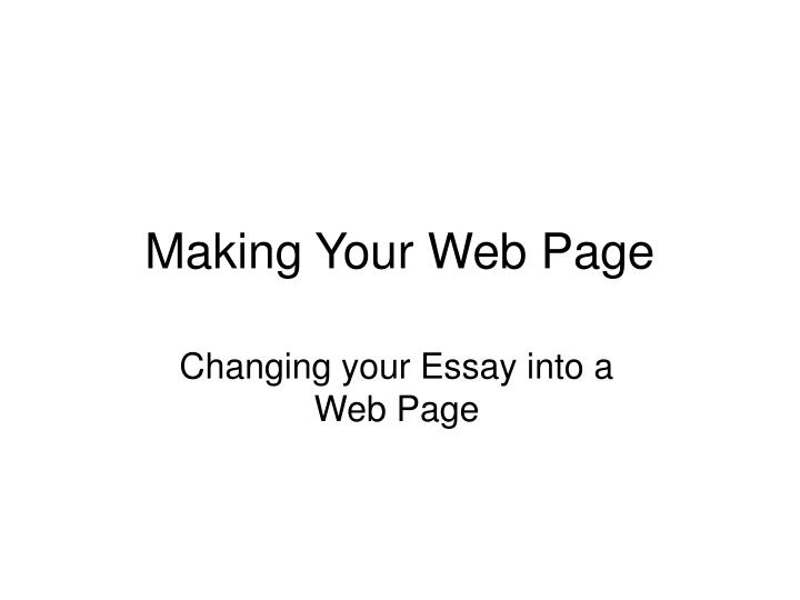 making your web page n.