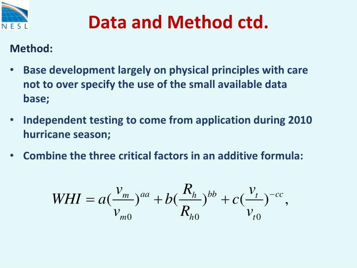 Data and Method ctd.