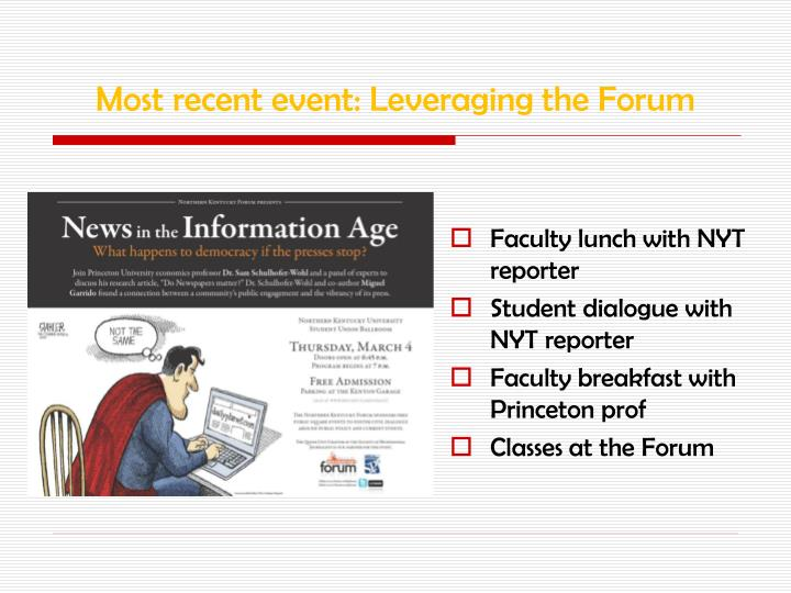 Most recent event: Leveraging the Forum