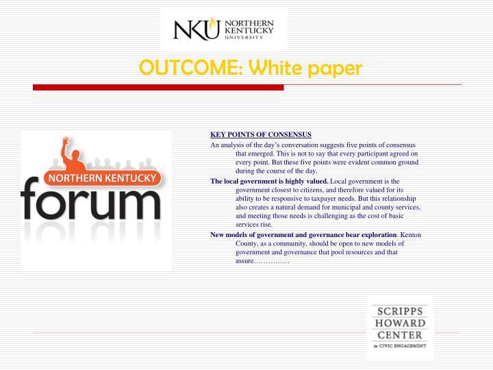 OUTCOME: White paper
