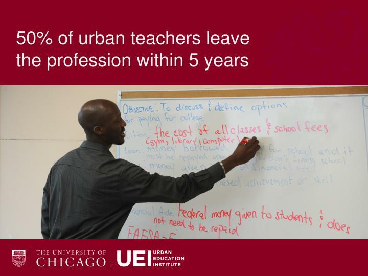 50% of urban teachers leave