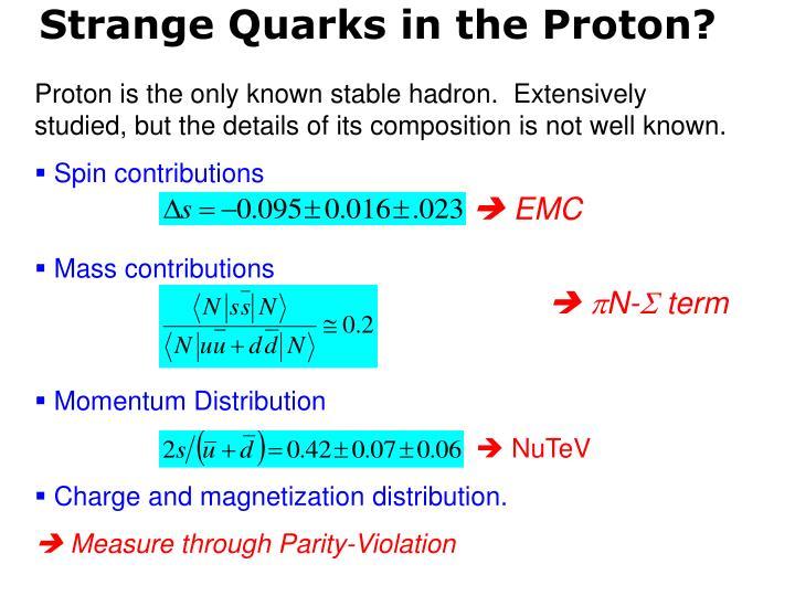 Strange Quarks in the Proton?