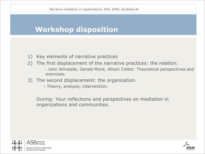 Workshop disposition
