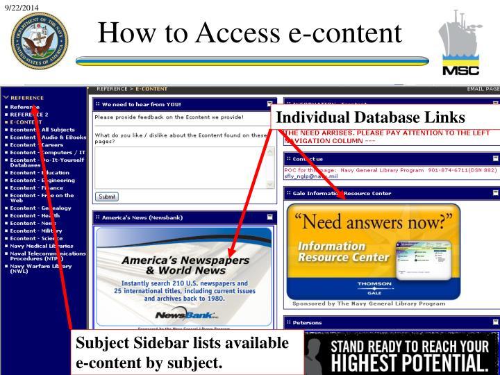 Individual Database Links
