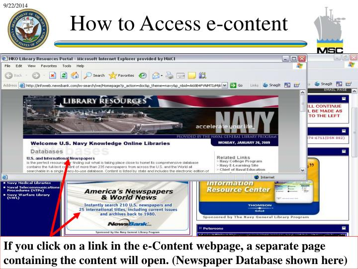 If you click on a link in the e-Content webpage, a separate page containing the content will open. (Newspaper Database shown here)