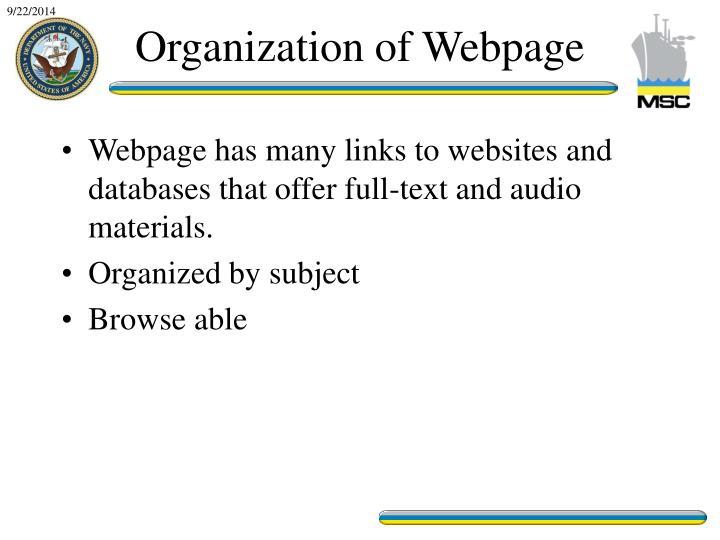 Organization of Webpage