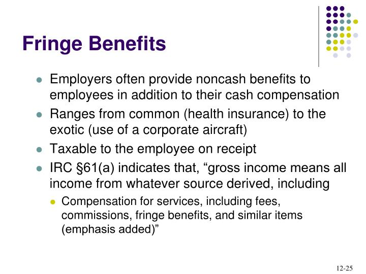 Employers often provide noncash benefits to employees in addition to their cash compensation