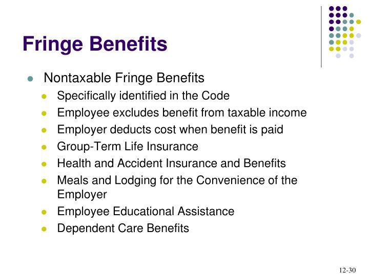 Nontaxable Fringe Benefits