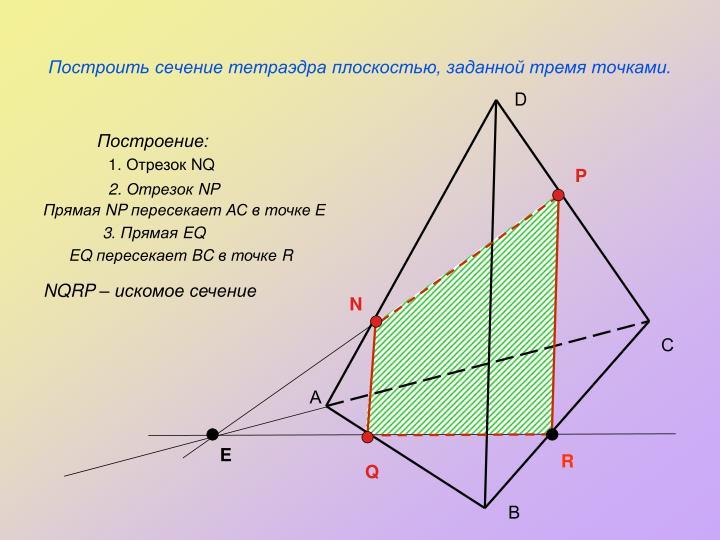 Построить сечение тетраэдра плоскостью, заданной тремя точками.
