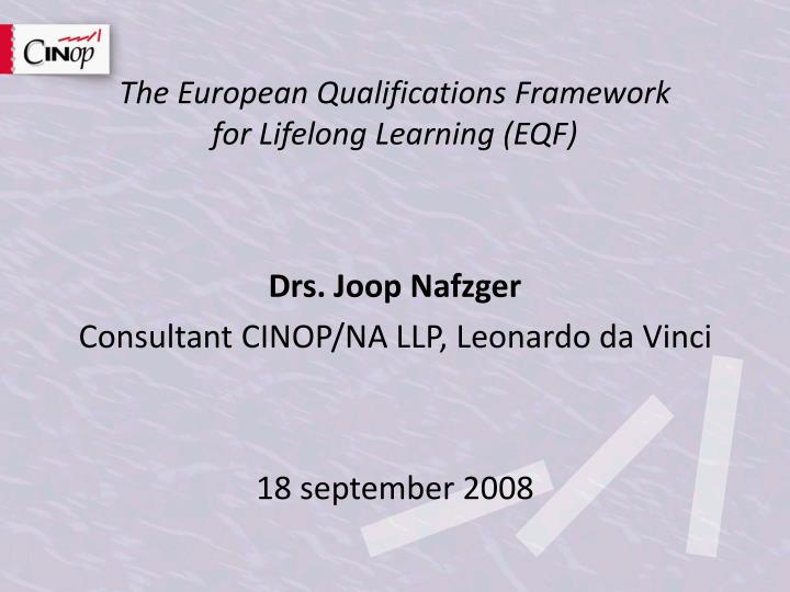 the european qualifications framework for lifelong learning eqf n.