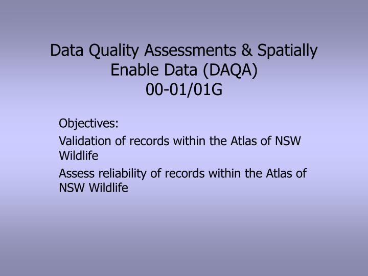 Data quality assessments spatially enable data daqa 00 01 01g