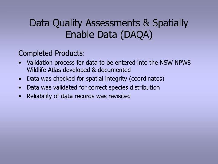 Data quality assessments spatially enable data daqa