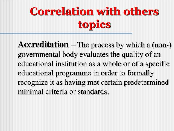 Correlation with others topics