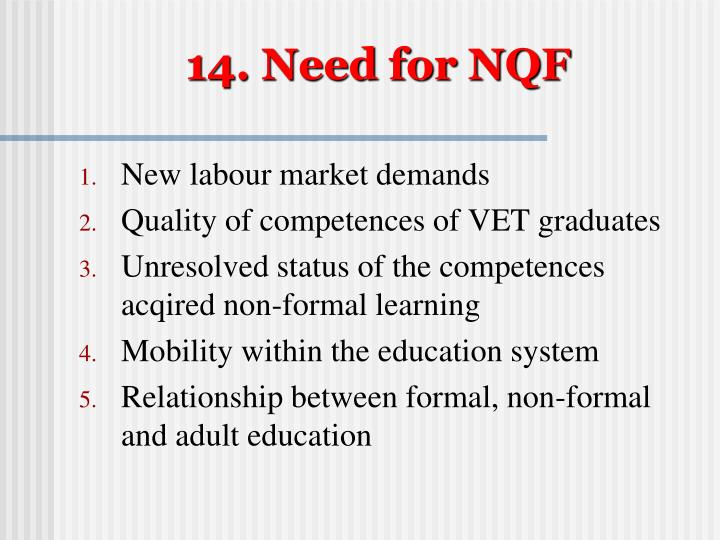 14. Need for NQF
