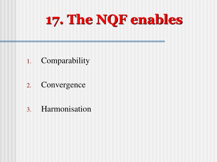 17. The NQF enables