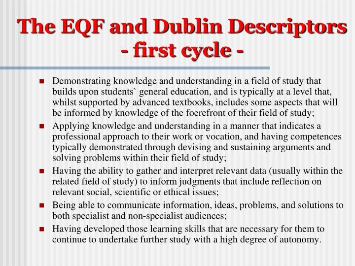 The EQF and Dublin Descriptors