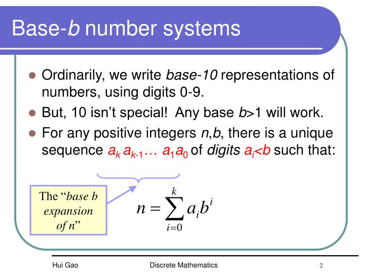 Base b number systems