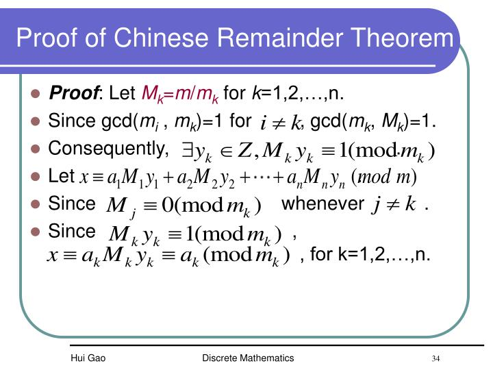 Proof of Chinese Remainder Theorem