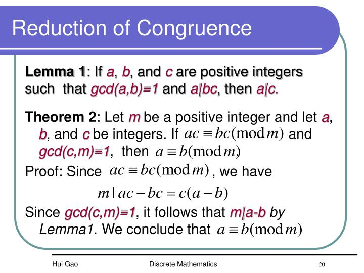 Reduction of Congruence