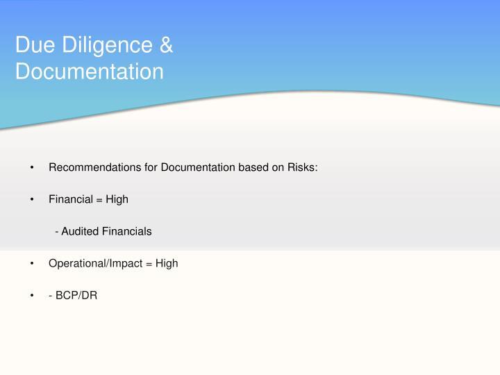 Due Diligence & Documentation