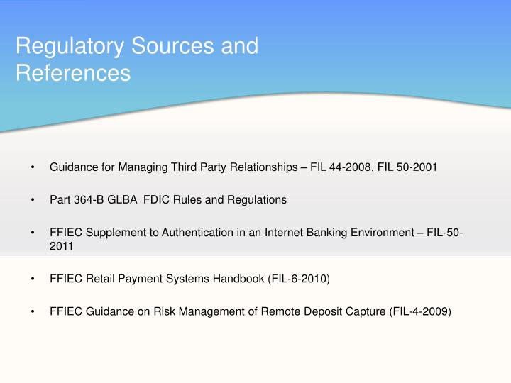 Regulatory Sources and References