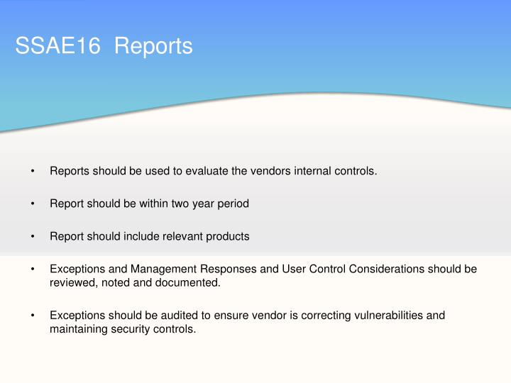 SSAE16  Reports