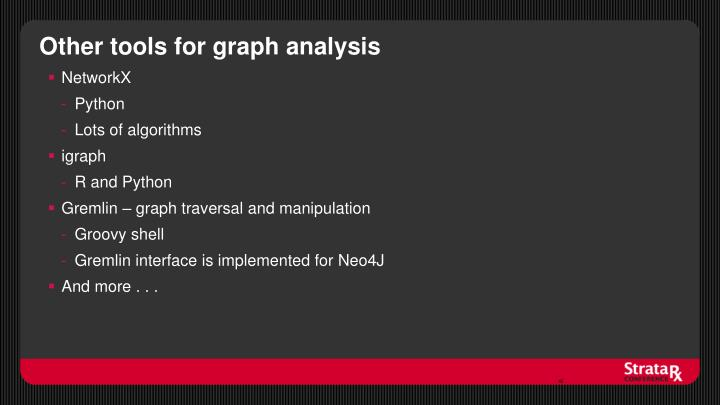 Other tools for graph analysis