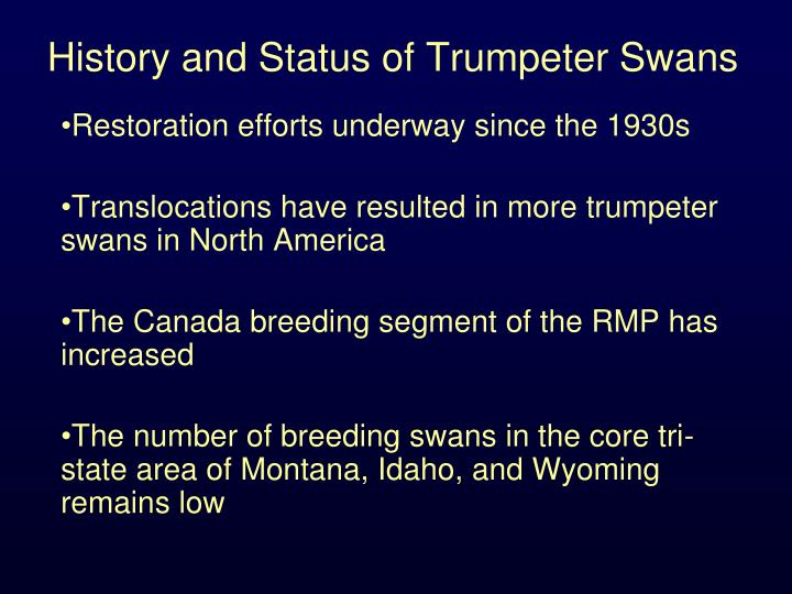 History and status of trumpeter swans