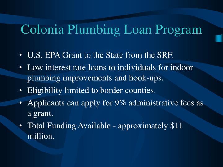 Colonia Plumbing Loan Program