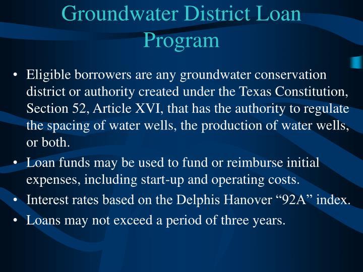 Groundwater District Loan Program