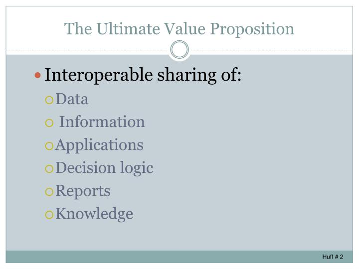 The ultimate value proposition