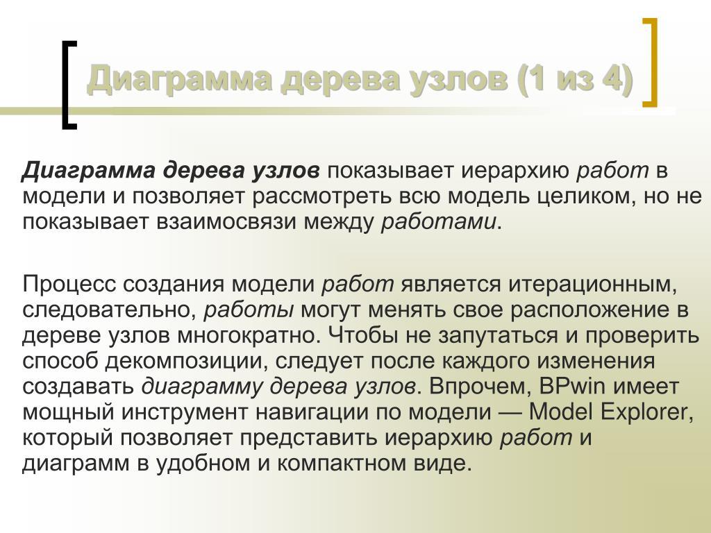 процесс создания модели работ является