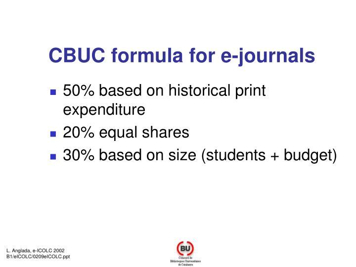 CBUC formula for e-journals