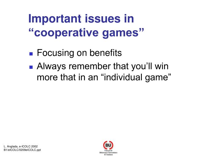 Important issues in cooperative games
