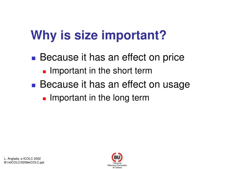 Why is size important?