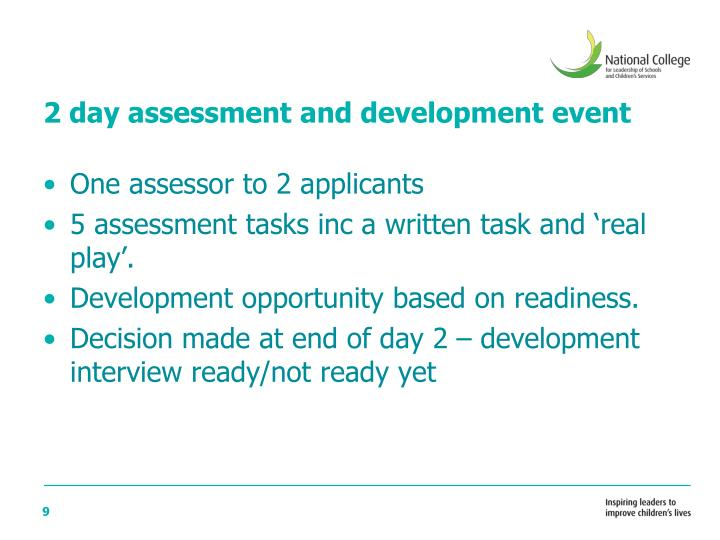 2 day assessment and development event
