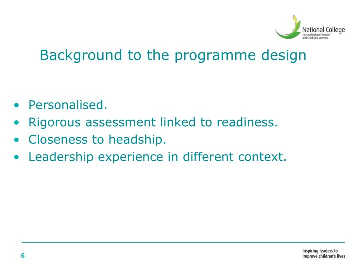 Background to the programme design