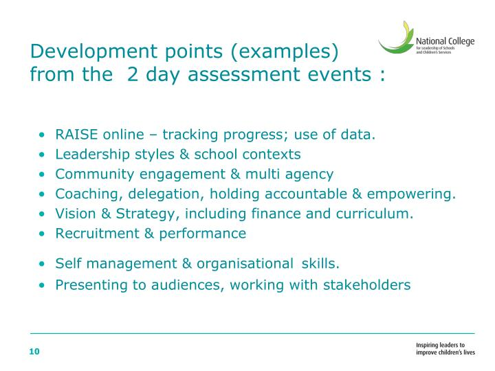 Development points (examples)