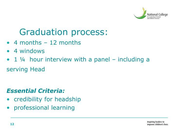 Graduation process: