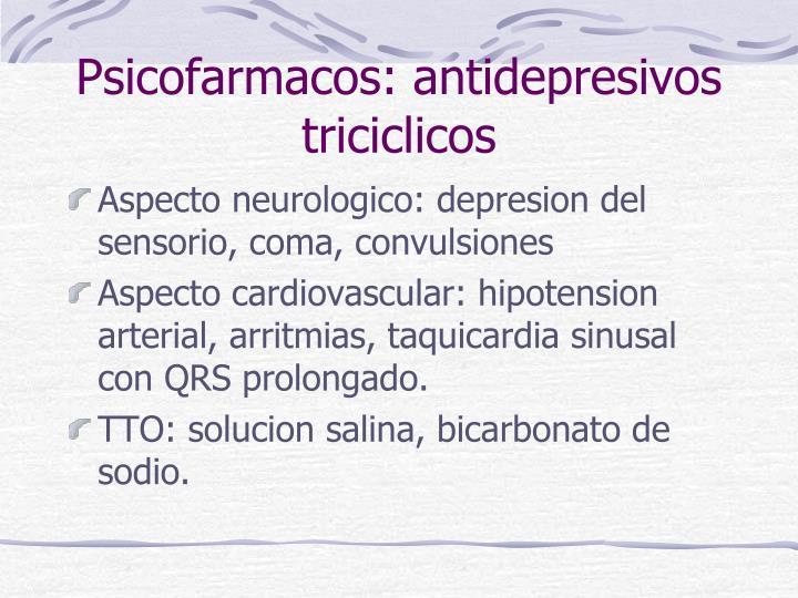 Psicofarmacos: antidepresivos triciclicos