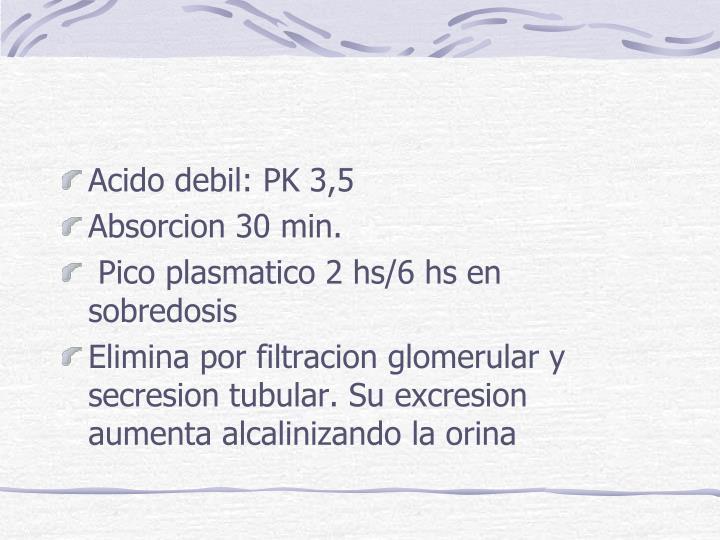 Acido debil: PK 3,5