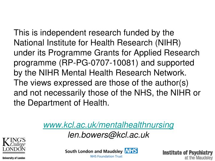 This is independent research funded by the National Institute for Health Research (NIHR) under its Programme Grants for Applied Research programme (RP-PG-0707-10081) and supported by the NIHR Mental Health Research Network. The views expressed are those of the author(s) and not necessarily those of the NHS, the NIHR or the Department of Health.