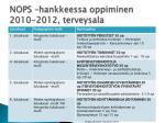 nops hankkeessa oppiminen 2010 2012 terveysala