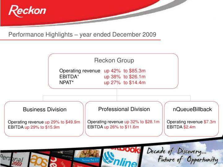 Performance Highlights – year ended December 2009